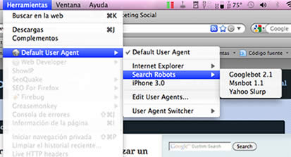 User agent switcher Firefox extension