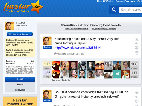 Rand Fishkin Favstar Most Popular Tweet