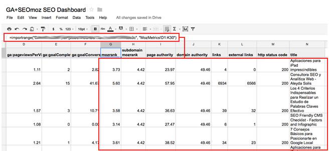 Google Analytics SEOmoz SEO Dashboard Import
