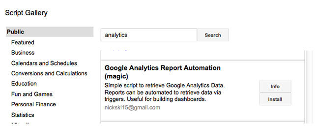 Google Analytics Report Automation (Magic) in Script Gallery